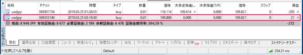 FX 注文内容確認画面